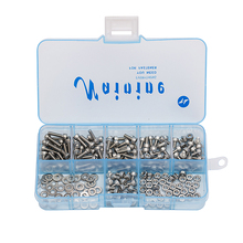 250Pcs/set DIN912 M1.6 M2 M2.5 M3 304 Stainless Steel Hexagon Socket Head Cap Screws Bicycle Hex Bolts Assortment Kit HW003(China)