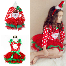2017 fashion baby girl Christmas dress girl Merry Christmas dress child children cotton Dot Casual Red Tutu Dresses toddler(China)
