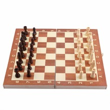 Wooden Chessboard Chess Set Board Game Foldable International Chess Game For Activities Wooden Checker Chess Set