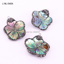 5Pcs Abalone Shell Carved Flower Pendant, With Rhinestone Paved Charms Pendants For Women(China)