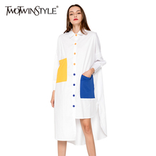 Buy TWOTWINSTYLE Blouse Shirt Dress Women Patchwork Midi Female Dresses Long Sleeve Oversized Casual Clothes Korean Fashion Big Size for $24.64 in AliExpress store