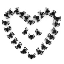 50 Pcs Plastic Black Spider Trick Toy Party Halloween Haunted House Prop Decor(China)