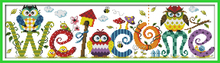 The Owl Welcome Card Patterns counted Cross Stitch Pattern Sets 11CT 14CT Cotton HanAdmade Kits Embroidery Needlework DIY Gift(China)