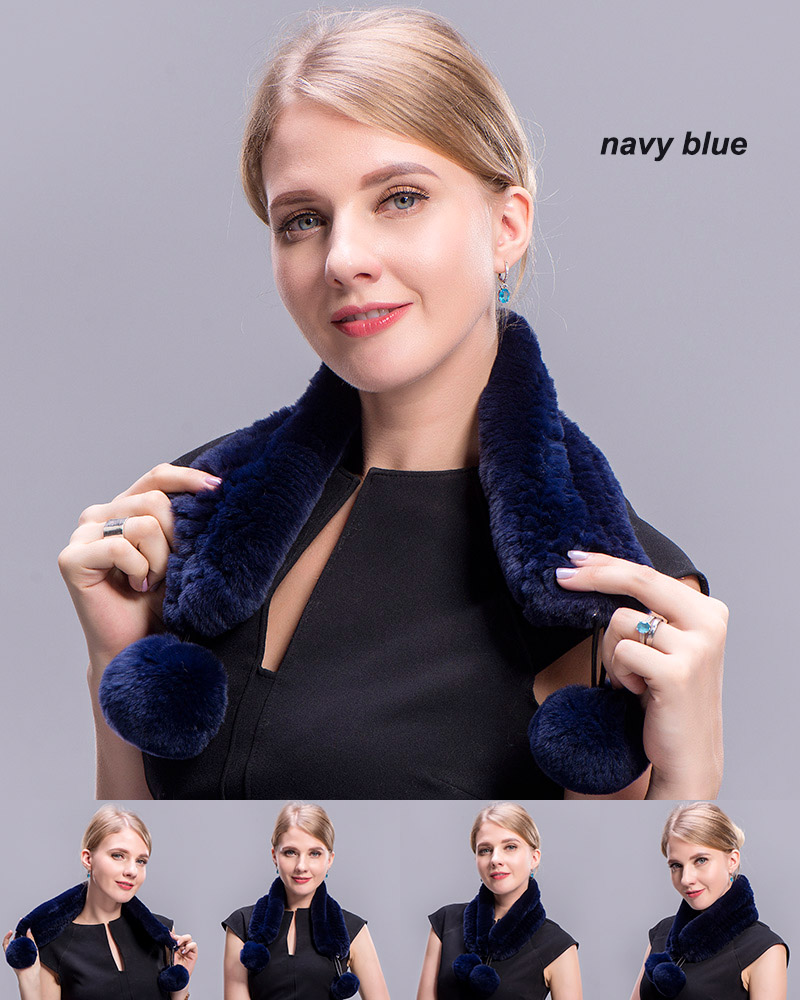 rex rabbit short scarf navy blue 3