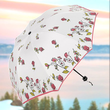 Simanfei ANTI-UV Red and Blue Rose Fully Automatic Foldable Sun Compact Women lady Windproof Rain Fashion Umbrellas