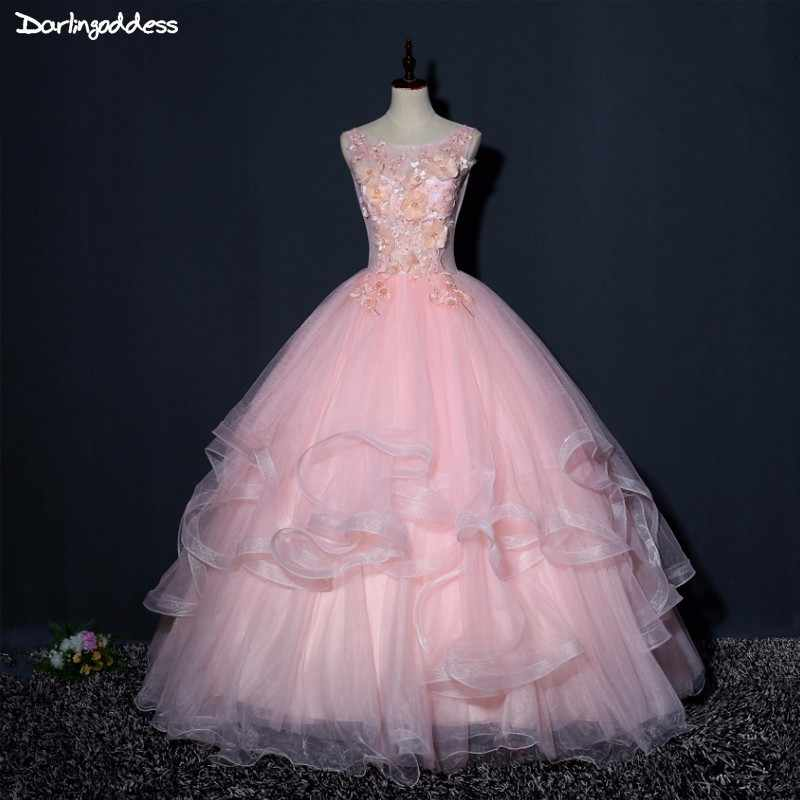 Darlingoddess Vintage Ball Gown Tulle Long Formal Pink Evening Dresses 2018  3D Flowers Vestido De Festa 4066693fb461