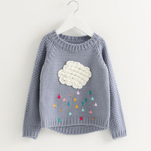 new 2017 fashion winter baby girls sweater cartoon cloud kids clothes children sweater warm for girls knitwear rain Sweater