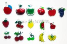 S4656!  Wholesale 10Pcs/Lots DIY Alloy Enamel mixed apple and fruit Charms Metal Charms