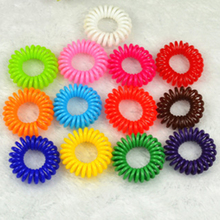 suti 20PCS Random Candy color rubber band telephone wire hair ring hair rope spring Hair Accessories