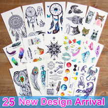 3d dream catcher Waterproof Temporary Tattoos dreamcatcher flash Tattoo stickers body art for women transferable fake tattoo(China)