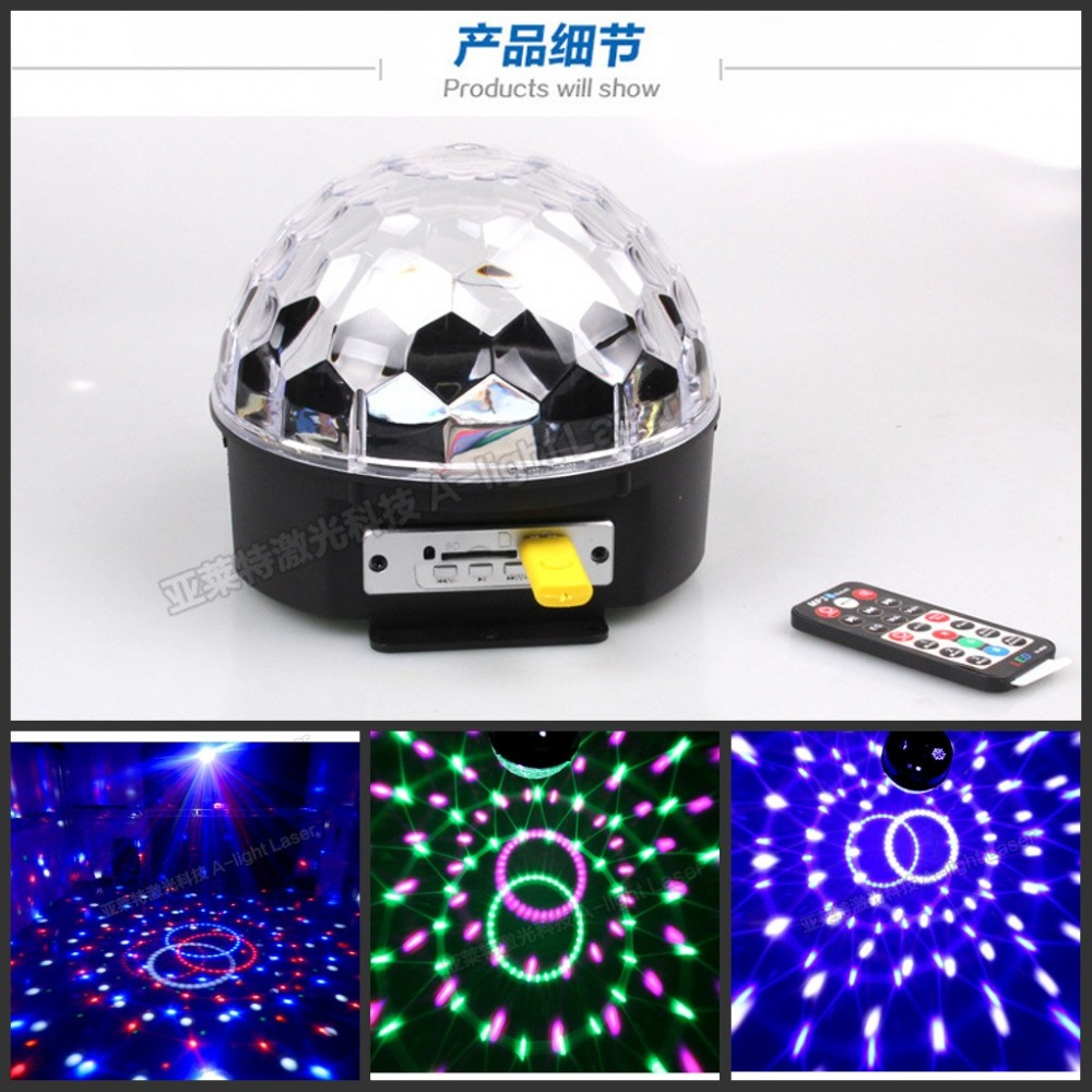 6 LED 18W Remote Control MP3 Crystal Magic Ball Led Stage Lamp Disco Laser Light Party Lights Sound Control Christmas Light KTV<br><br>Aliexpress