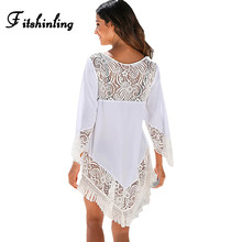 Buy Fitshinling 2018 Lace patchwork fringe white sexy beach dresses women hollow hot pareos swimwear output summer dress for $11.99 in AliExpress store