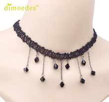 Necklaces Diomedes Gussy Life wholesale Hot Women's Fashion Necklace Black Lace Collar Choker Statement Bib Pendant Feb9