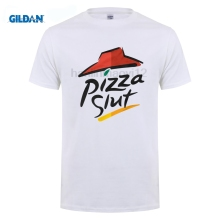 Buy GILDAN Pizza Slut Spoof Parody Funny T-Shirt 100% Cotton Gift Fat Present Printed Men T Shirt Short Sleeve Funny Tee Shirts