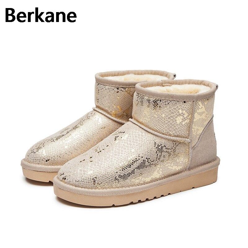 Sequined Glossy Snow Boots Women Australia Wool Brand Waterproof Winter Warm Glitter Fur Short Ankle Boots Plush Flats Botas Hot<br>