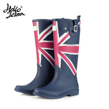 Women Fashion Rain Boots Printing Flag Classic Ladies Rubber MIid-Calf Heels Waterproof Buckle Rainboots 2016 New Fashion Design(China)