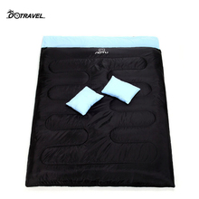Outdoor Camping Hiking Double Sleeping Bags Waterproof Autumn Winter Thermal Envelope Style 2 Person with 2 Pillows