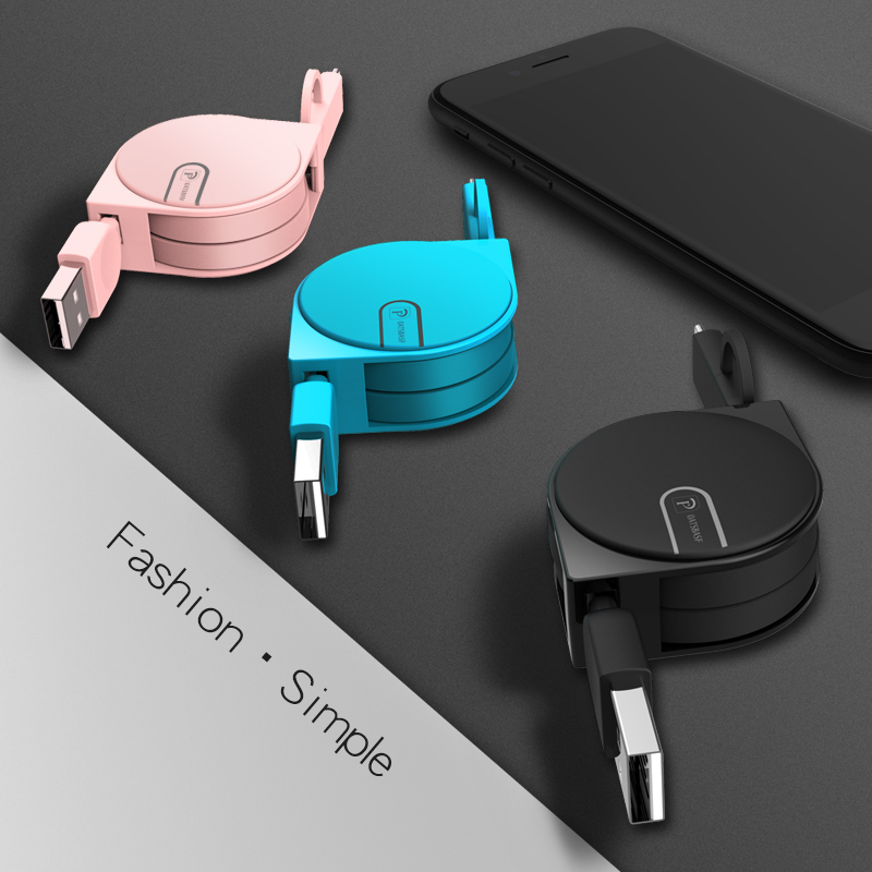 Oatsbasf 2 1 USB Cable iphone X 7 8 6 + Micro USB Cable Samsung S8 Xiaomi Mi5 Retractable Cable Mobile Phone Cables