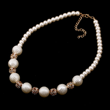 Match-Right Women Trendy Imitation Pearl Statement Beads Chain Stones Necklace For Women Jewelry NL662(China)