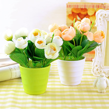Caioffer Pink Red Robe Tea Bud Cheap Artificial Flowers Quality Fake Plastic Flowers For Party Garden Home Decoration CXD07