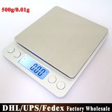 Free DHL Fedex 20 Sets 500g/0.01g Portable Electronic Platform Digital Scale Jewelry Two Trays Scales With Counting Function