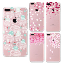 Peach Petal Flowers phone Cases For Iphone 6 6s 6Plus 7 7s 7plus Soft TPU Silicon Ultra-Thin Floral Cherry Phone Cover Case(China)