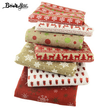 Booksew Linen Fabric Christmas Theme Table Cloth 7PCS/lot 45cmx50cm Precut Bundle Home Sewing Decoration Crafts Curtain Cushion(China)