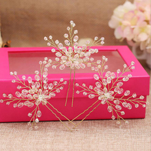 3 PCS Large Handmade Crystal Flower Wedding Hair Pins Bridesmaid Beads Hair Pieces Vine Hairpins Bride Hair Jewelry Accessories