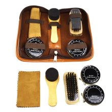 Portable Travel Leather Care Smooth Tool Wooden Handle Brushes Shoe Shine Polish Men Shoes Cleaning Kit With Storage Bag TB Sale