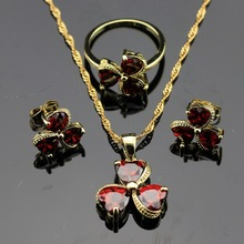 Heart Shaped Red  Created Garnet  Jewelry Sets For Women Gold Color Earrings Necklace Pendant Rings Free Jewelry Box