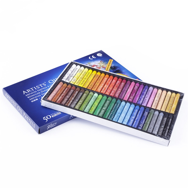 50 Pcs/Lot Oil Pastels Set Student Stationery School Drawing Pen Supplies 50 Color Crayons Boya Kalemi Style Art Supplies Kids(China (Mainland))