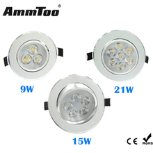 1Pcs 9W 15W 21W AC85V-265V LED Downlight Chandelier Recessed LED Ceiling lamp Bulb Spotlight With LED Driver For Home Lighting