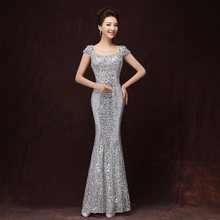 Cap Sleeve Silver Mermaid Evening Dress Custom Made Designer Sexy Evening Gown Mother of the Bride Dresses Robe de soiree