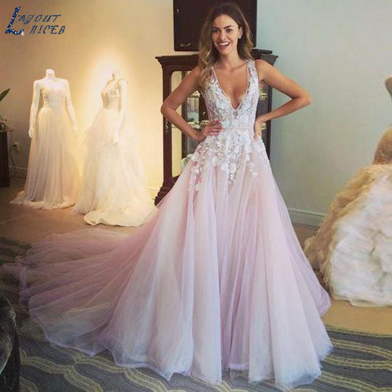 SHJ296 Pink Backless Robe De Soiree V-neck Prom Dresses 2019 A-Line Evening Gowns Sexy Evening Dress