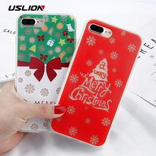 USLION Phone Case For iPhone 8 7 6 6S Plus Luminous Christmas Tree Sock Pattern Cases Soft TPU Back Cover Fundas For iPhone 6s(China)