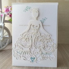Hot Sale 50Pcs/lot Delicate Carved Beautiful Girl Dress Romantic Wedding Invitation Card For Wedding Business Party Birthday