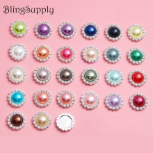 BTN-5719 18mm decorative bling no scratch pearl crystal rhinestone buttons flat back embellishment mix colors 100PCS(China)
