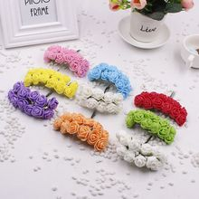 12 pcs 2.5 CM Diameter Head Multicolor PE Rose Foam Mini Artificial Silk Flowers Bouquet Solid Color / Wedding Decoration