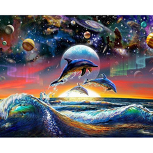 "NEW 30*40CM 5D DIY Diamond Embroidered Acupuncture Cross Stitch ""Star dolphins"" Diamond Art Wall Photo Christmas Decorative Gift"