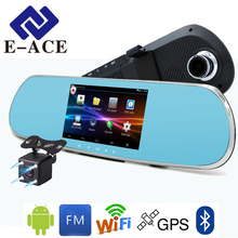 E-ACE 5.0 inch Android Car Dvr WIFI Automotive Rear View Mirror Dashcam Dual Lens GPS DVR With Radar Detector Bluetooth For Car