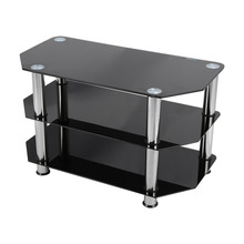 Black Glass 3 Layer Coffee Tables Modern TV Stand Cabinet Tea Coffee Table Suitable For LCD LED Glass Leg Living Room Furniture
