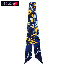 SALUTTO 2016 Brand Chiffon Popular Women Scarf Catwalk Hair Belt Twilly Bind Bag With Small Tie Headband Ribbon