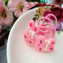 2017 4Pcs Fashion Good Gift Rabbit Hair Elastic Bands Kids Headband Cute Pink Rubber Rope Holder Hair Accessories For Girls