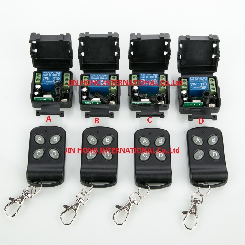 New DC12V 1CH RF wireless remote control switch system 4pcs transmitter + 4pcs receiver teleswitch relay smart house z-wave<br><br>Aliexpress