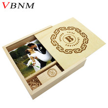 VBNM (1 PCS free LOGO) walnut wood Photo Album usb + Box usb flash drive Memory card Pendrive 8GB 16GB Photography Wedding gift(China)