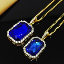 2016 New Mens Bling Faux Lab  Pendant Necklace Iced Out Rock Rap Hip Hop Jewelry NL0418