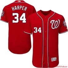MLB Men's Washington Nationals Bryce Harper Baseball Alternate Scarlet Flex Base Authentic Collection Player Jersey