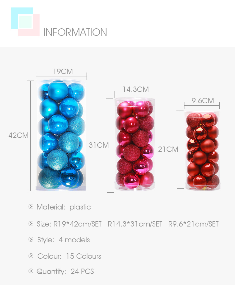 02 inhoo 24PCSset Christmas ornament 468cm Christmas Tree Balls Baubles Xmas for Home Party Colorful Wedding Decoration Supplies