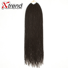 Xtrend 22inch 30roots Synthetic Senegalese Twist Hair Crochet Braid Ombre Braiding Hair Black Purple High Temperature Fiber 3PCS