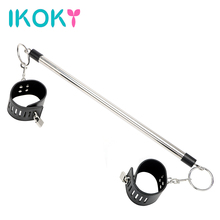 Buy IKOKY Leather Ankle Cuffs Stainless Steel Spreader Bar Women Fetish Bondage Restraint Sex Toys Couples Wrist Cuff Adult Game